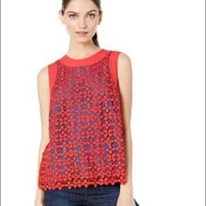 Juicy couture blocked floral guipure lace top